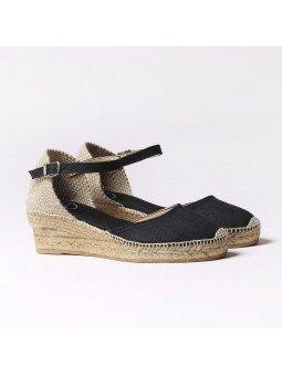 Comprar Online Alpargatas Toni Pons de tejido con cuña, Espadrilles modelo Romina, color negro, vista duo