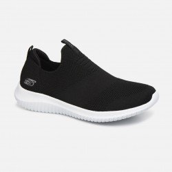 Zapatillas deportivas skechers, sin cordones, modelo 12837, color negro Bkw, portada
