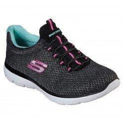 zapatillas deportivas skechers summits, color gris oscuro, con cordones elasticos, vista portada