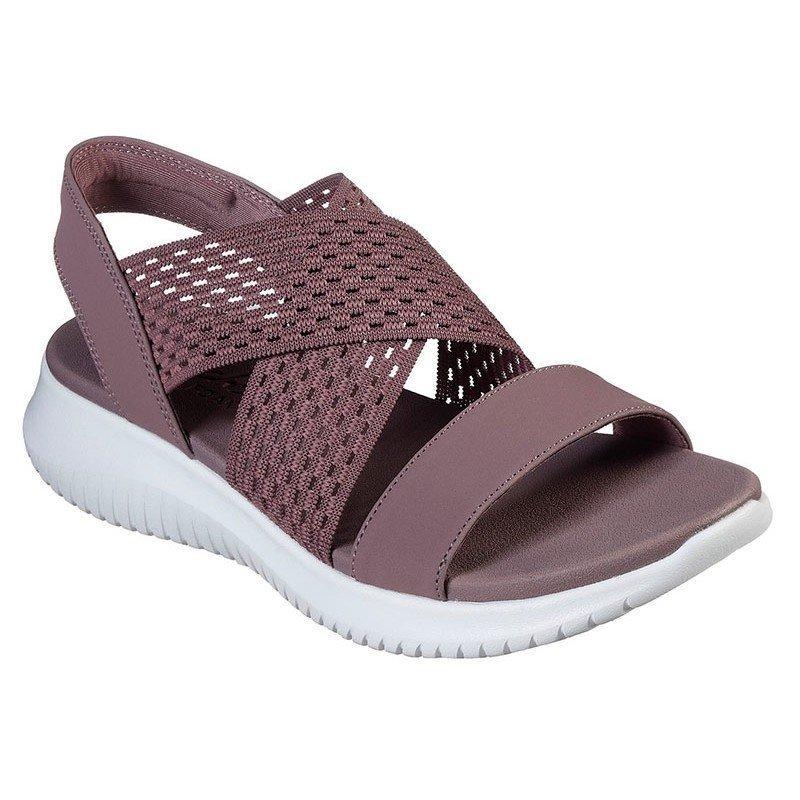 sandalias skechers ultra flex, color malva, portada