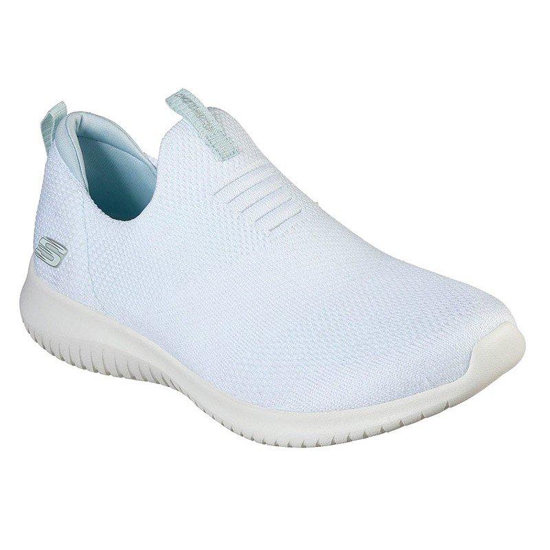zapatillas deportivas skechers, sin cordones, color blanco, vista portada