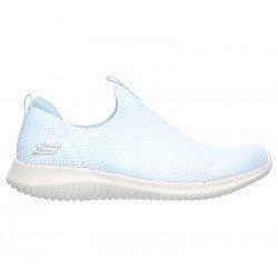 zapatillas deportivas skechers, sin cordones, color blanco, vista lateral exterior