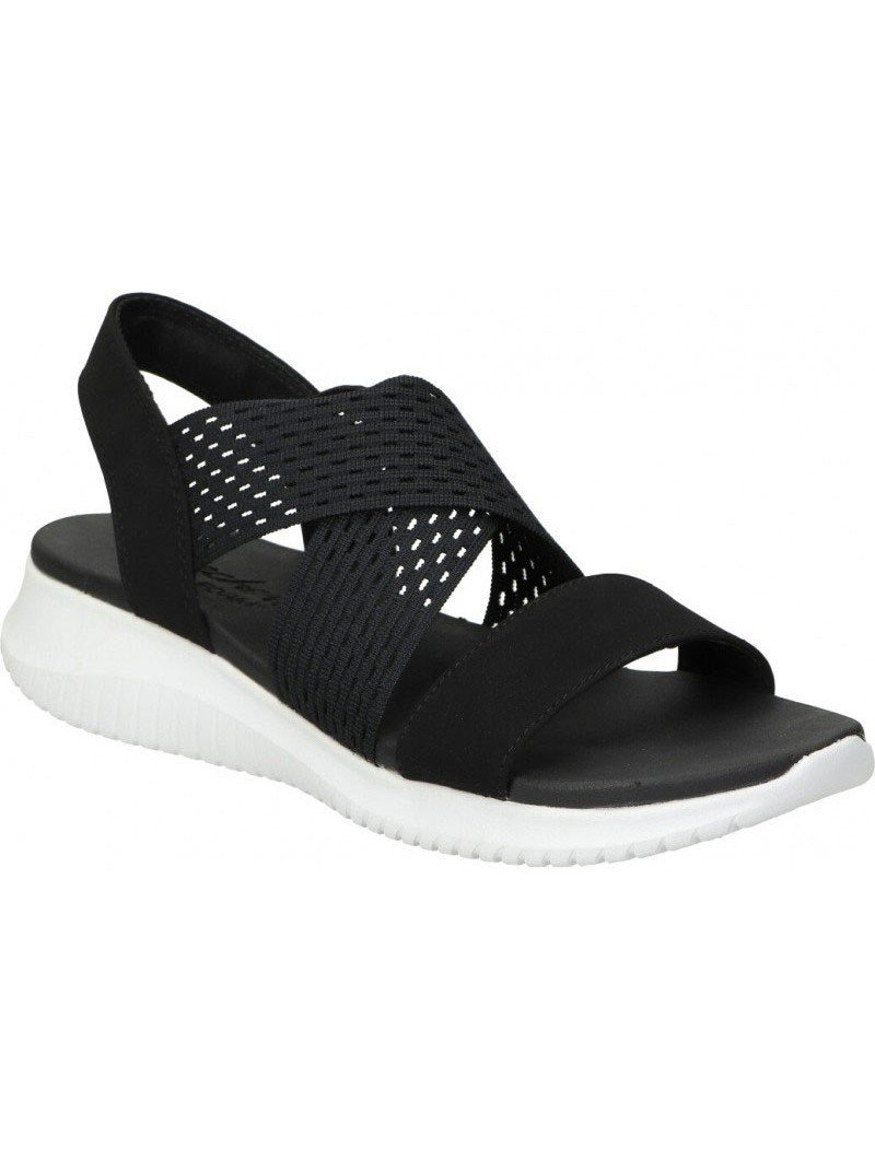 sandalia skechers ultra flex, color negro, portada