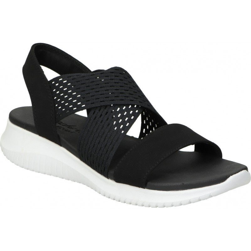 sandalia skechers ultra flex, color negro, portada
