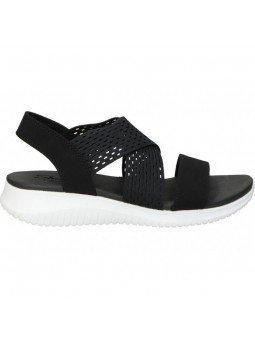 sandalia skechers ultra flex, color negro, vista lateral