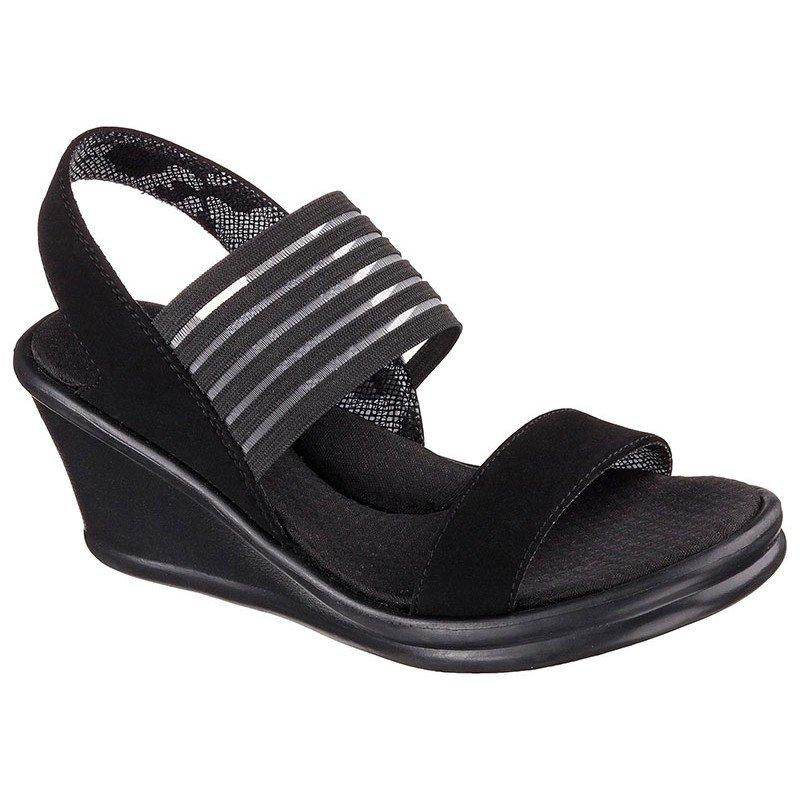 sandalias skechers rumblers, con cuña, color negro, portada