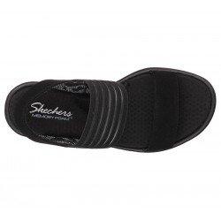 sandalias skechers rumblers, con cuña, color negro, vista superior