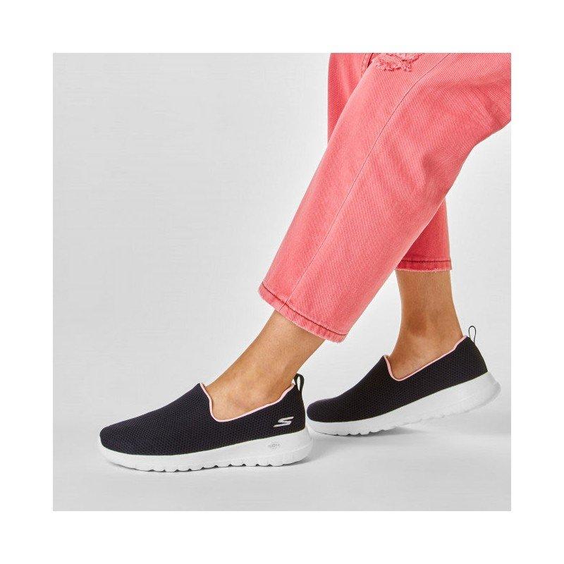 mocasín skechers go walk joy, color negro y rosa, portada