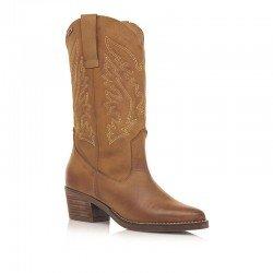 bota campera mustang, color marron, cowboy, vista general