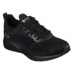 Zapatillas deportivas SKECHERS Bobs Sport Squad Total Glam 32502, color BKSL negro glitter, con cordones, vista portada