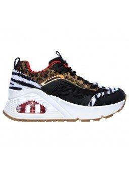 Zapatillas deportivas SKECHERS Uno Stand Hi the Hunt, modelo 155007, cámara de aire, animal print, vista lateral