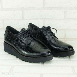Zapatos Blucher de Lince de piel con grabado coco, modelo 3456, color negro, vista portada.