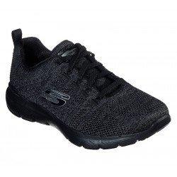 Zapatillas deportivas skechers flex appeal, modelo 13077, color negro gris oscuro BKCC, con cordones, vista portada