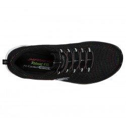 Zapatillas deportivas Skechers Relaxed Fit , modelo 12829, color BKMT Negro Multicolor, con cordones elásticos, vista superior