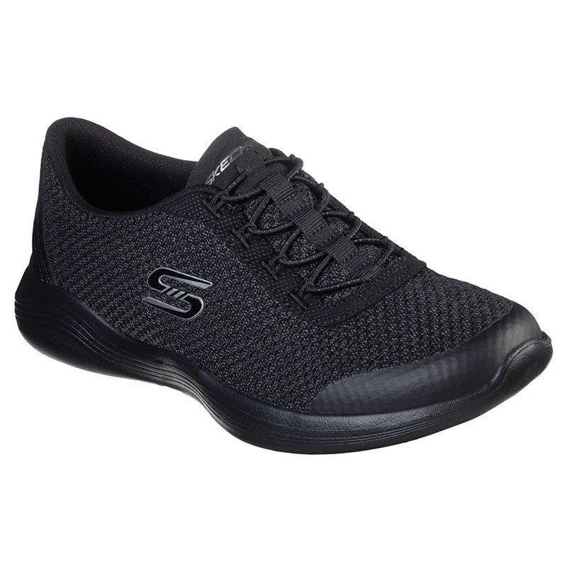 Zapatillas Deportivas Skechers Envy, modelo 23608, color BKCC negro, con cordones elásticos, vista portada