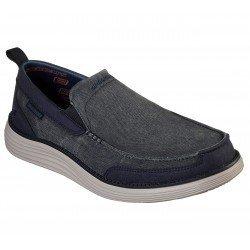 Mocasines Skechers Status 2.0 Lenton, modelo 65901, color NVY Azul, con elástico, vista portada