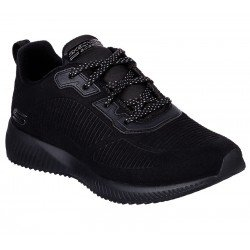 Zapatillas Skechers Sport Squad Tought Talk, modelo 32504, color BBK Negro, con cordones, vista portada