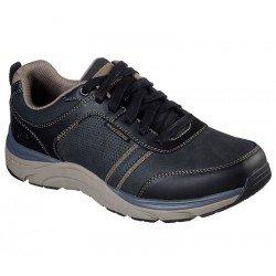 Zapato casual Skechers, modelo 66293 relaxed fit sentinal Lunder, color BLK negro, con cordones, vista portada