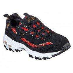 Zapatillas deportivas Skechers D'Lites Mountain Alps 149100 BKRD Negro Tartan Rojo, con cordones, vista portada