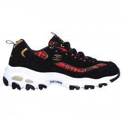 Zapatillas deportivas Skechers D'Lites Mountain Alps 149100 BKRD Negro Tartan Rojo, con cordones, vista lateral