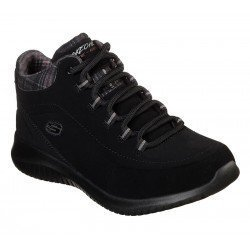 Bota Skechers Ultra Flex Just Chill 12918 BBK Negro, con cordones, vista portada