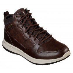 Botas Skechers Delson Selecto waterproof, modelo 65801 choco, color marron, vista portada.