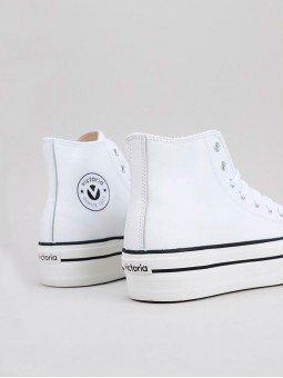 Botín tribu doble de Victoria, piel vegana, modelo 061107, color blanco, vista logo.