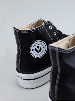 Botín tribu doble de Victoria, piel vegana, modelo 061107, color negro, vista logo.