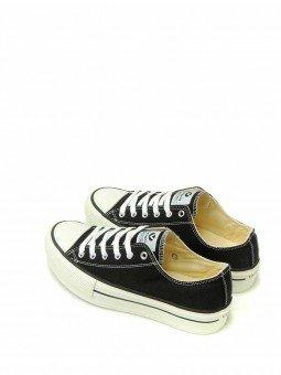 Zapatillas Victoria tribu basket, modelo 06550, color negro, vista talón.