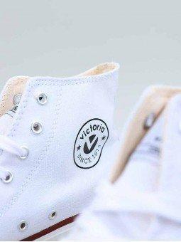 Botín Victoria Tribu Doble en Lona con cordones, modelo 61101, color blanco, vista logo.