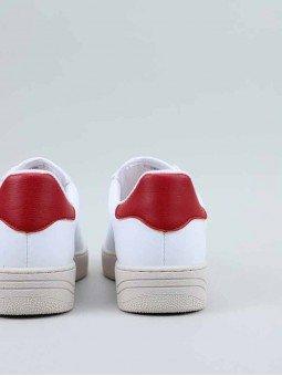 Sneakers Victoria, modelo 129101, en color blanco, von la V en marino, vista talón.