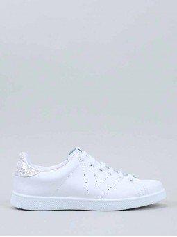 Tenis Victoria en color blanco, modelo 25104, talón glitter blanco, vista lateral.