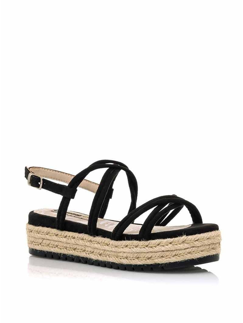 sandalias plataforma plana, tiras cruzadas, mustang lisa 50768, cierre hebilla, color negro, vista portada