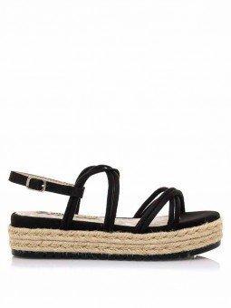 sandalias plataforma plana, tiras cruzadas, mustang lisa 50768, cierre hebilla, color negro, vista lateral