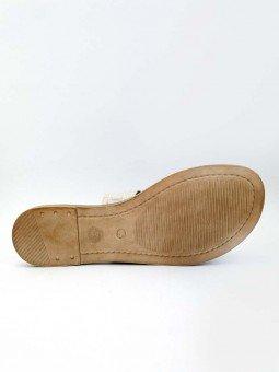 Sandalia plana Lince en piel, plantilla acolchada, modelo 12014, color hueso, vista suela.