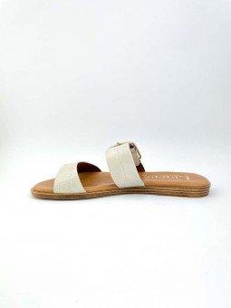 Sandalia plana Lince en piel, plantilla acolchada, modelo 12014, color hueso, vista lateral interior.