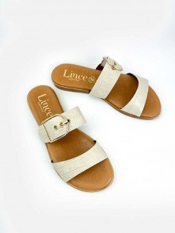 Sandalia plana Lince en piel, plantilla acolchada, modelo 12014, color hueso, vista portada.