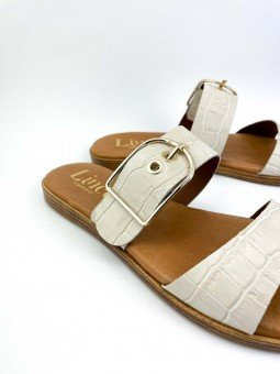 Sandalia plana Lince en piel, plantilla acolchada, modelo 12014, color hueso, vista detalle.