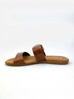 Sandalia plana Lince acolchada en piel, modelo 12014, color cuero, vista lateral interior.