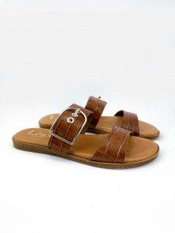 Sandalia plana Lince acolchada en piel, modelo 12014, color cuero, vista portada.