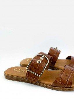 Sandalia plana Lince acolchada en piel, modelo 12014, color cuero, vista detalle.