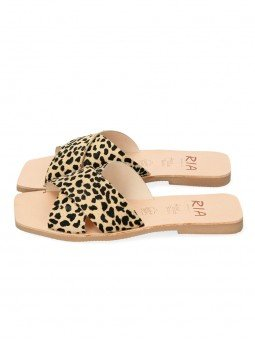 sandalia plana pala cruzada lulu ria menorca, 40418, animal print leopardo guepardo, piel, punta cuadrada, vista lateral