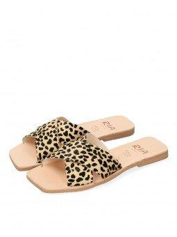 sandalia plana pala cruzada lulu ria menorca, 40418, animal print leopardo guepardo, piel, punta cuadrada, vista 2