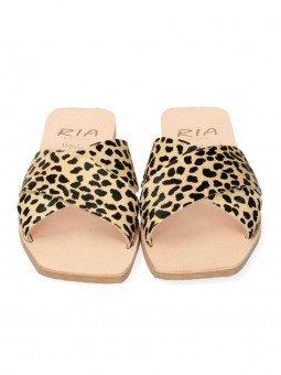 sandalia plana pala cruzada lulu ria menorca, 40418, animal print leopardo guepardo, piel, punta cuadrada, vista frontal
