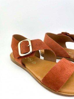 Sandalia plana Lince, piel serraje, color teja, plantilla acolchada, modelo 07905, hebilla dorada. vista detalle