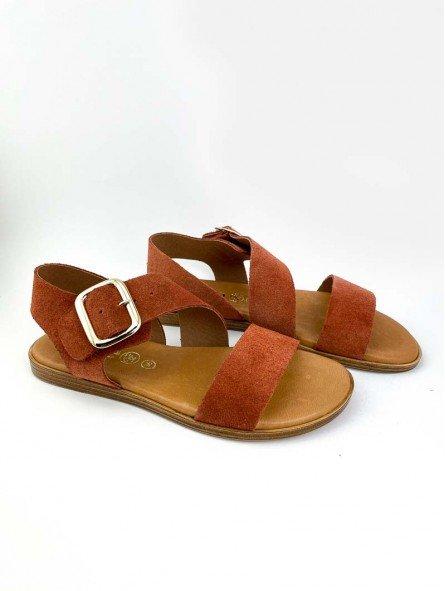 Sandalia plana Lince, piel serraje, color teja, modelo 07905, plantilla acolchada, hebilla dorada. vista portada