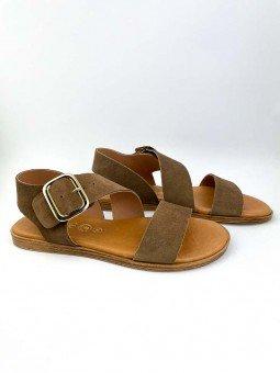 Sandalia plana Lince modelo 07905, piel serraje, color marron, plantilla acolchada, hebilla dorada. vista portada