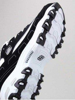 Zapatillas Skechers D´Lites con plataforma, modelo 11930, color negro-blanco bkw, vista suela.