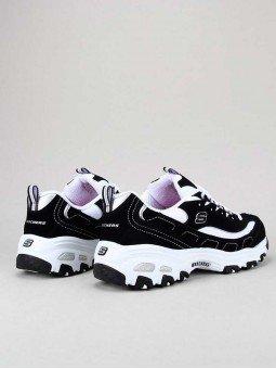 Zapatillas Skechers D´Lites con plataforma, modelo 11930, color negro-blanco bkw, vista talón.
