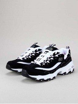 Zapatillas Skechers D´Lites con plataforma, modelo 11930, color negro-blanco bkw, vista portada.